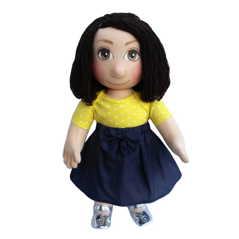 Panenka 60 cm modrá sukně a žluté puntíkaté tričko