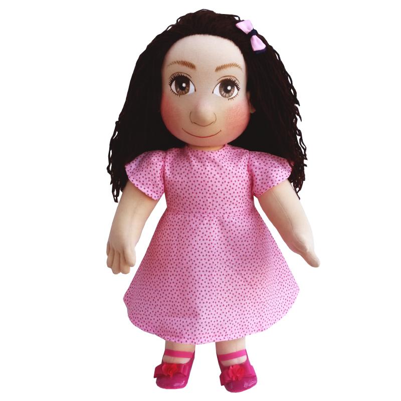 Panenka 60 cm růžové šaty s drobnými malými hvězdičkami