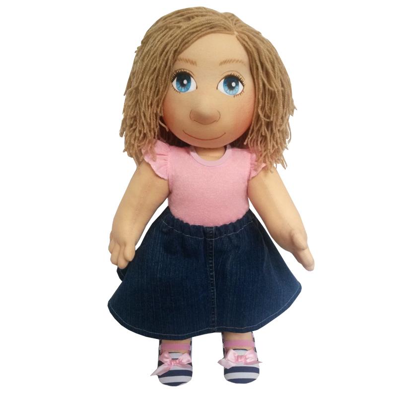 Panenka 60 cm růžové tričko a modrá riflová sukně
