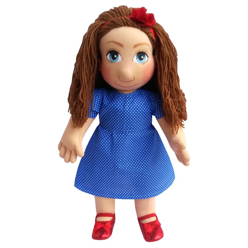 Panenka 60 cm šaty modré s bílými drobnými puntíky