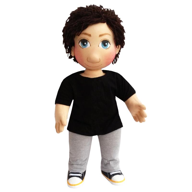 Panenka 60 cm šedé tepláky a černé tričko s knoflíky