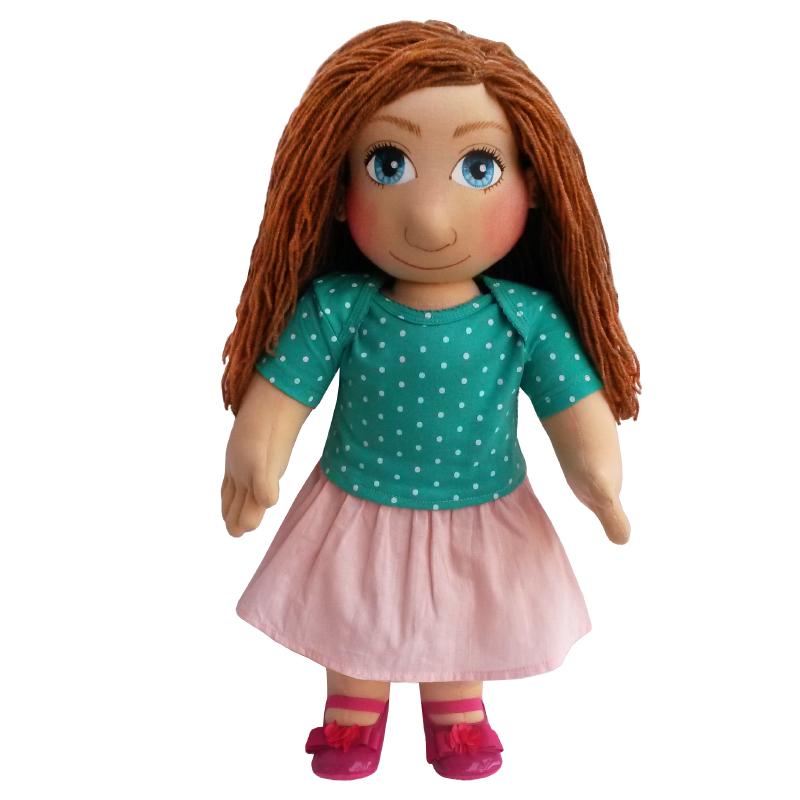 Panenka 60 cm světle meruňková sukně a tričko tyrkysové puntíkaté