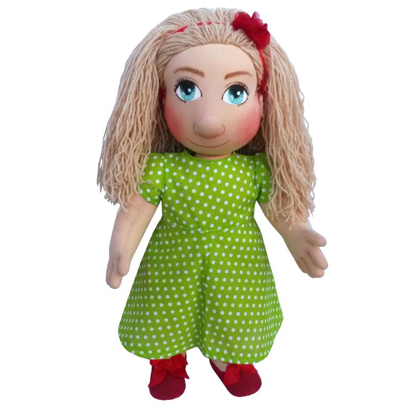 Panenka 60 cm zelené šaty s většími bílými puntíky (159,-)