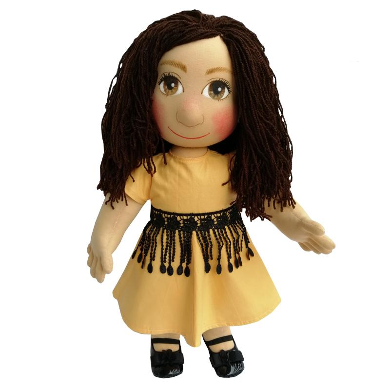 Panenka 60 cm žluté šaty a černý krajkový opasek